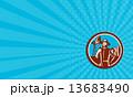 Business card Organic Farmer Shovel Windmill Woodcut Retro 13683490