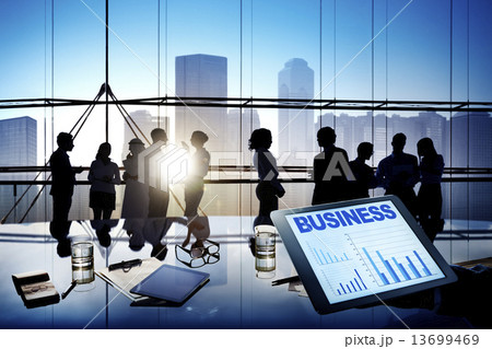 Silhouettes Of Multi-Ethnic Group Of Business People Working Togの写真素材 [13699469] - PIXTA