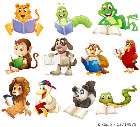a group of animals readingのイラスト素材 13714979 pixta