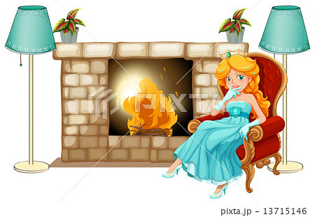 A princess near the fireplaceのイラスト素材 [13715146] - PIXTA
