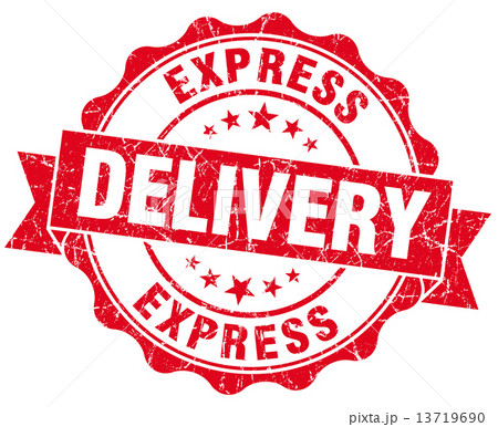 express delivery red grunge seal isolated on white 13719690
