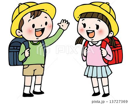 小学生 男の子 女の子のイラスト素材 13727369 Pixta