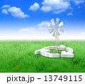 再生可能エネルギー クリーンエネルギー 風力発電のイラスト 13749115