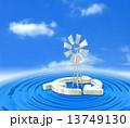 クリーンエネルギー 風力発電 風車のイラスト 13749130