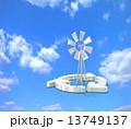 再生可能エネルギー クリーンエネルギー 風力発電のイラスト 13749137