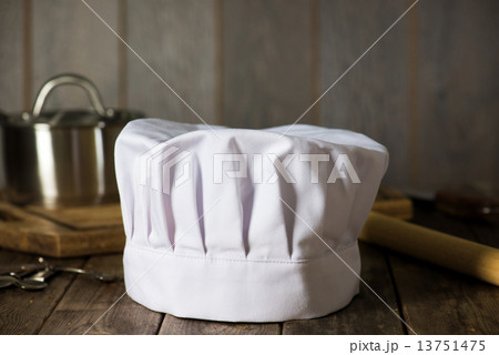 chef hat with kitchen settings and rustic lookの写真素材 [13751475] - PIXTA