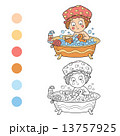 Coloring book (little girl in the bathroom) 13757925