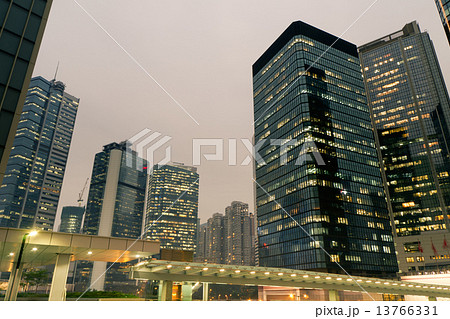 City night scene with business office skyscrapers in Hong Kong, 13766331