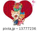 猫 ハート バラのイラスト 13777236