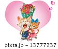 猫 ハート バラのイラスト 13777237