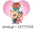 猫 ハート バラのイラスト 13777238