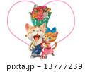 猫 ハート バラのイラスト 13777239