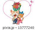 猫 ハート バラのイラスト 13777240