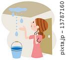 雨漏り 女性 人物のイラスト 13787160