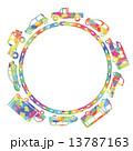 車のサークル(カラフルシルエット) 13787163