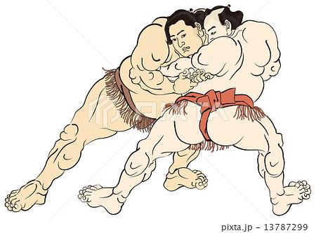 歌川国貞 相撲絵のイメージイラスト 13787299