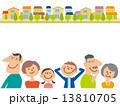 家族6人と街並み 13810705