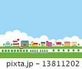 住宅地 街 雲のイラスト 13811202