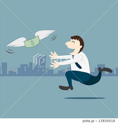 Business man running follow the money 13830018