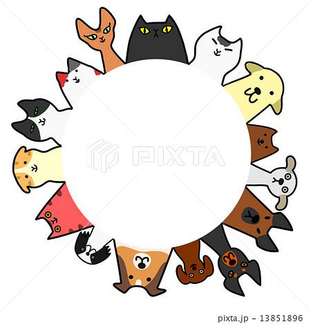 犬と猫 円 コピースペース カラーのイラスト素材 13851896 Pixta