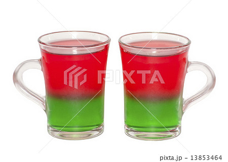 Photo of two transparent glass cups with layered jelly cocktailの写真素材 [13853464] - PIXTA
