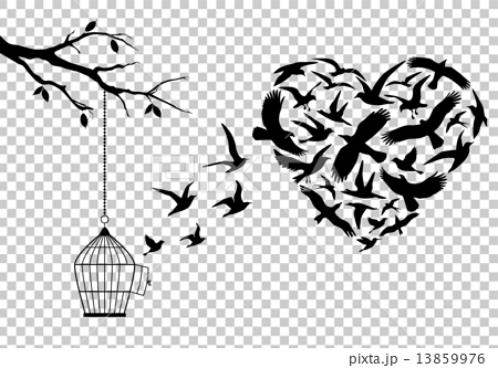flying birds in heart shape with birdcage and tree, vector illustration 13859976