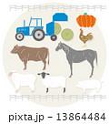 牧場とトラクター 北海道 13864484