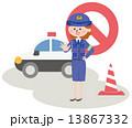 警察官 パトカー ベクターのイラスト 13867332