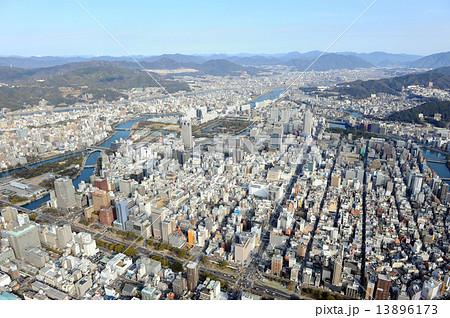 写真素材: 広島市の中心街を空撮