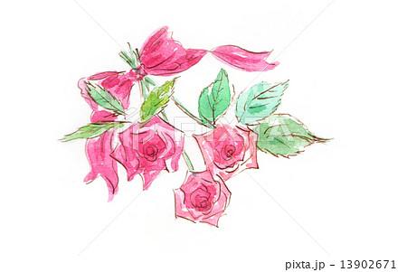バラ 花 薔薇 花束 ブーケ プレゼント 植物 緑の葉 白バック