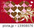 ハートのチョコレートのバレンタインカード 13908076