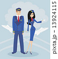 A pilot and stewardess in uniform 13924115