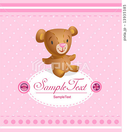 baby arrival card for baby girl のイラスト素材 13935385 pixta