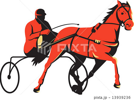 harness horse cart racing retroのイラスト素材 [13939236] - PIXTA