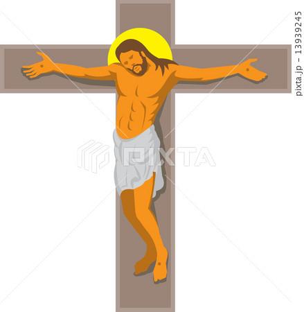 jesus christ on cross retroのイラスト素材 13939245 pixta