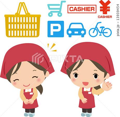スーパーマーケットと店員のイメージ 13939454