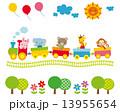 子供向け素材 汽車に乗る動物たち 13955654