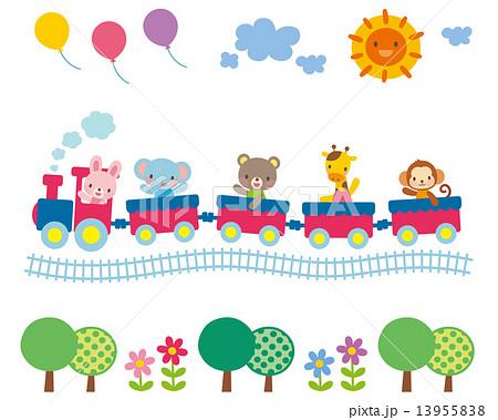 子供向け素材 汽車に乗る動物たち 13955838