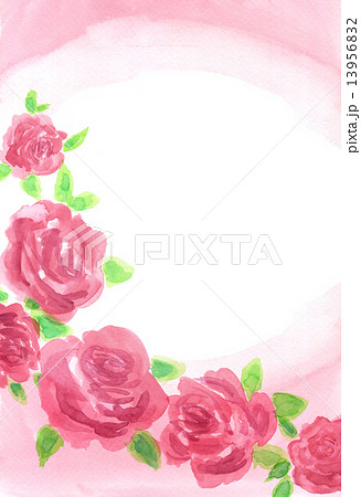 ソフトな赤色ローズの手描き水彩フレーム 13956832