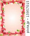 リボンと花のフレーム 13957015
