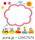 子供向けコピースペース 汽車に乗る動物たち 13957074