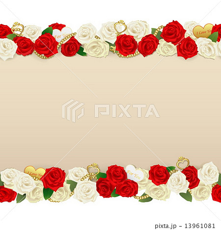 vector romantic flower frameのイラスト素材 13961081 pixta