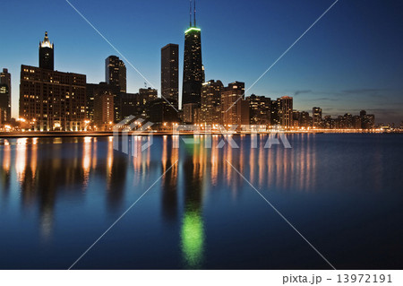 Blue evening in Chicago
