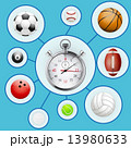 Realistic Sport balls and stopwatch with markers. 13980633