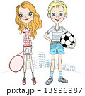 Vector girl with a tennis racket and sports boy with soccer ball 13996987