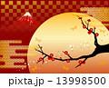 富士山と梅の背景 13998500