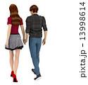 手をつないで歩くカップル 3DCG イラスト素材 13998614