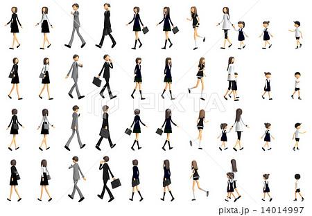 歩いている人々のバリエーションの3d Cgのイラスト素材 14014997 Pixta