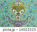 花柄 モザイク モザイク画の写真 14022525
