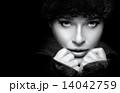 Gorgeous Young Woman in Black Winter Fashion. Monochrome Portrai 14042759